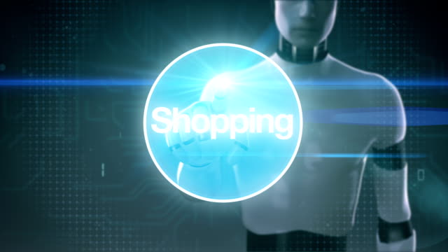 Robot, cyborg touching screen, Internet shopping icon connect global world map, grow online commerce network.3. video
