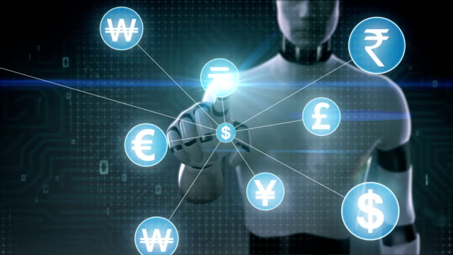 Robot, cyborg touching Various currency symbol, Numerous dots gather to create a Pound currency sign, dots makes global world map, internet of things. financial technology.2. video