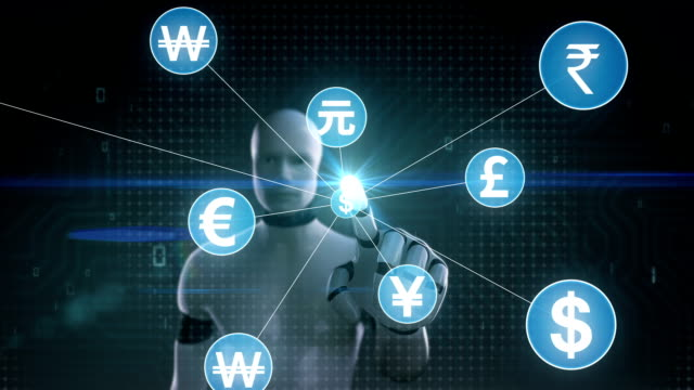 Robot, cyborg touching Various currency symbol, Numerous dots gather to create a Pound currency sign, dots makes global world map, internet of things. financial technology.1. video