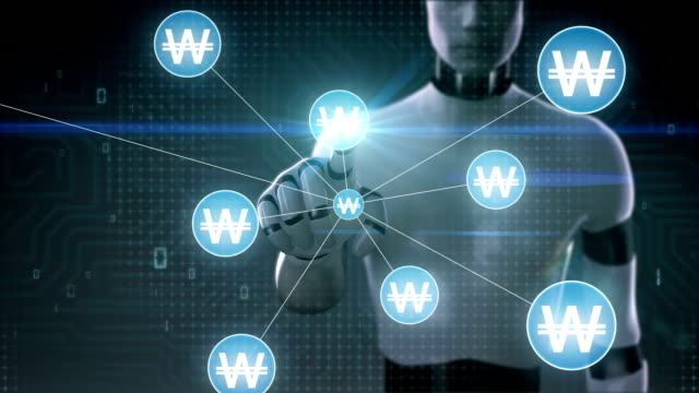 Robot, cyborg touching Won currency symbol, Numerous dots gather to create a Pound currency sign, dots makes global world map, internet of things. financial technology.2. video