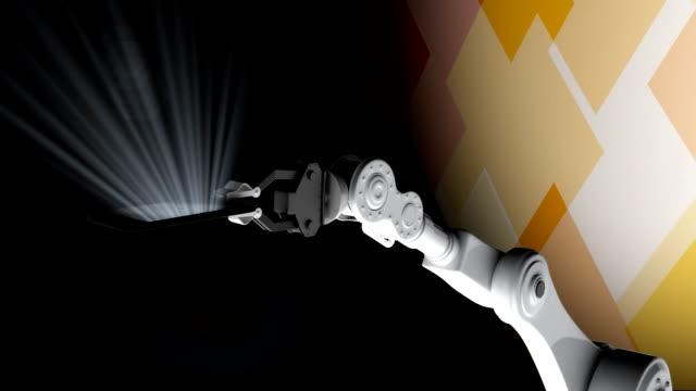 robot hand a cellular phone - rappresentazione umana video stock e b–roll