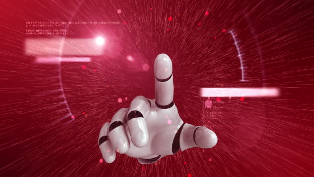 Robot Hand Activating Digital Hud Display