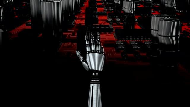 ロボットハンドと回路基板 - 拳 イラスト点の映像素材/bロール