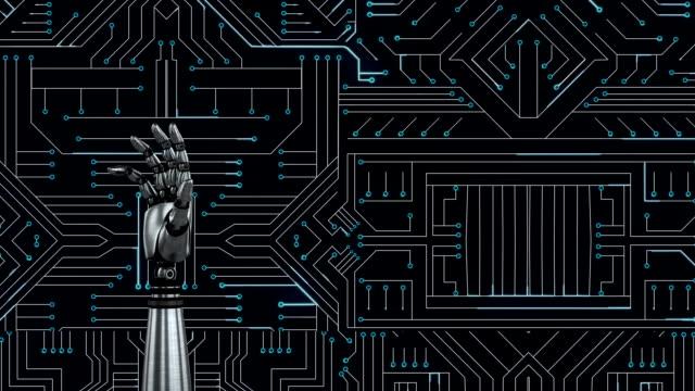 ロボットハンドオーバーマイクロチップ回路 - 拳 イラスト点の映像素材/bロール