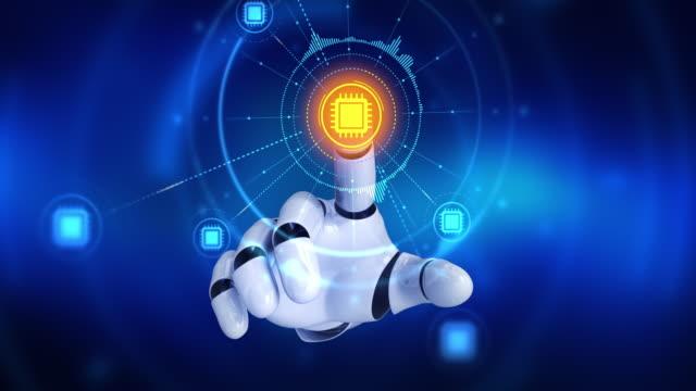 Robot el bilgisayar cpu sembolleri görünür sonra ekranda dokunmadan video