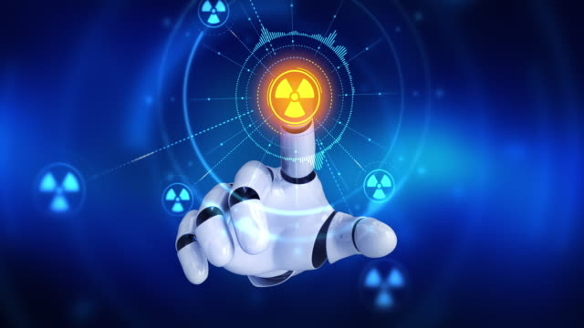 Robot hand touching on screen then nuclear symbols appears video