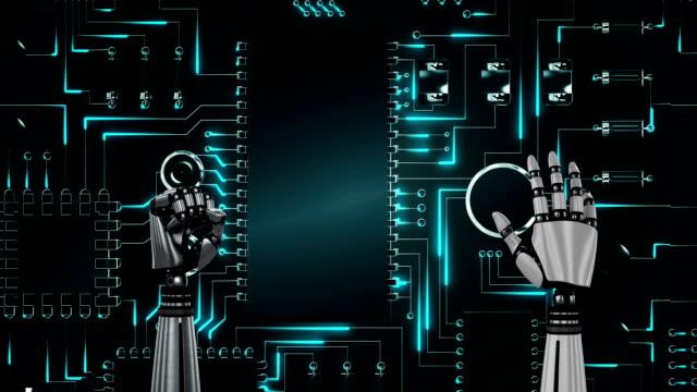 光るコンピュータ回路基板の上にロボットの手 - 拳 イラスト点の映像素材/bロール