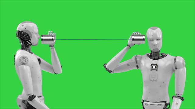 robot holding tin can phone