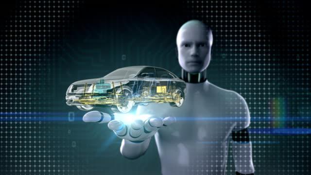 Robot open palm, Automobile Technology. shaft system, Engine. video