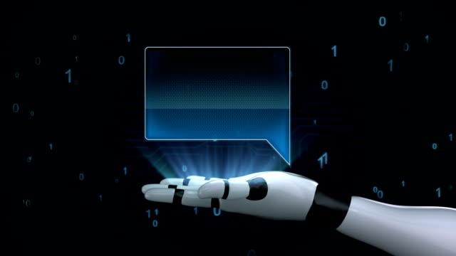 Robot open palm, bubble square text box on palm. video