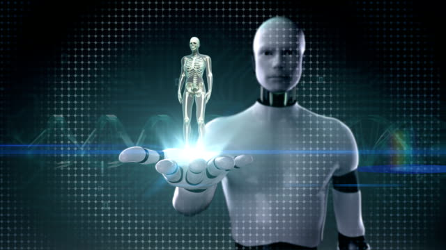 Robot open palm, Human skeletal structure, bone system, Blue X-ray. video