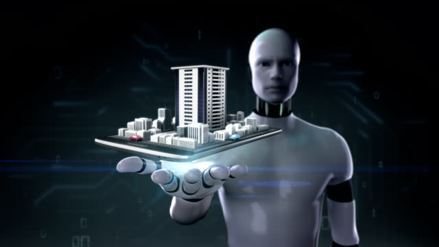 Robot open palm,  real estate application, building city on mobile, video
