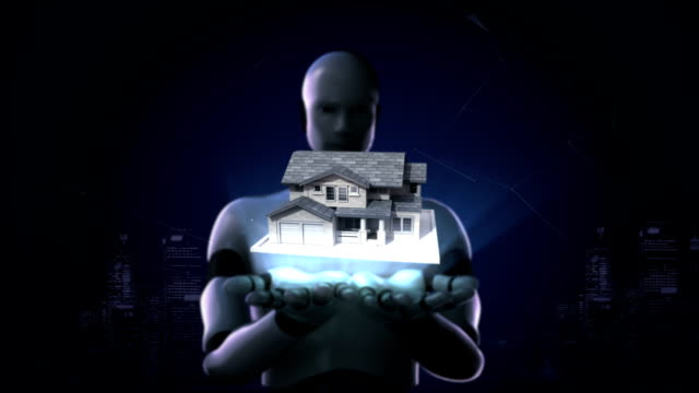 Robot open two palms, Real estate, constructed house and key. video