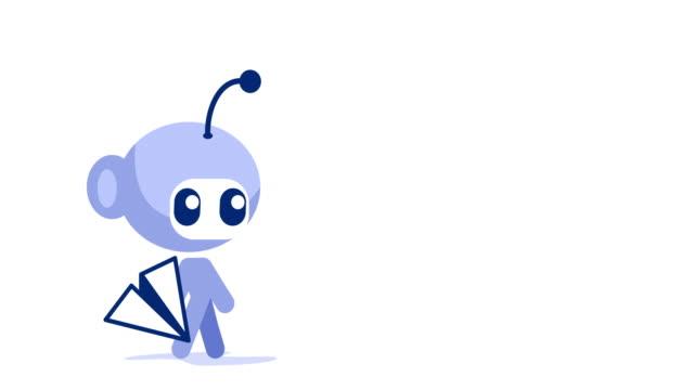 robot skicka e-post - skicka datormeddelande bildbanksvideor och videomaterial från bakom kulisserna