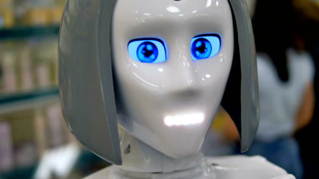 A robot talks to new shoppers. video