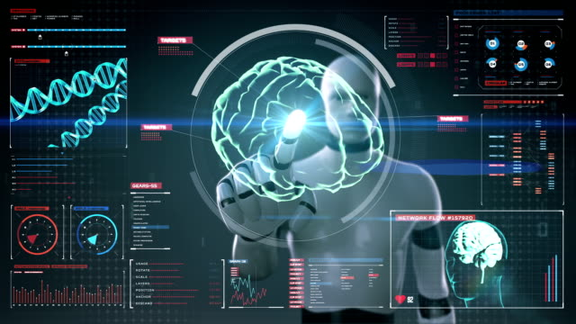 Robot touching digital screen, humanoid, Scanning Brain in digital display Robot, cyborg touching digital screen, humanoid, Scanning Brain in digital display dashboard. X-ray view hypothalamus stock videos & royalty-free footage