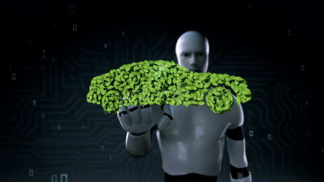 Robot touching eco green car made from leaves. leafs. video