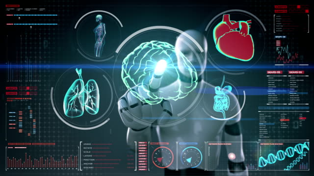 Robot touching screen, brain, heart, lungs, organs in digital display Robot, cyborg touching digital screen, Scanning brain, heart, lungs, internal organs in digital display dashboard. X-ray view. hypothalamus stock videos & royalty-free footage