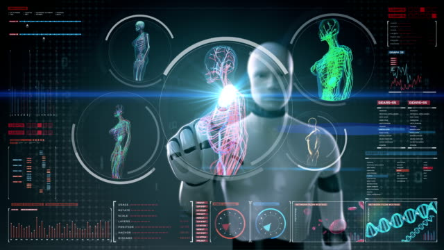 Robot touching screen, scanning blood vessel, lymphatic, circulatory system Robot, cyborg touching digital screen, Female body scanning blood vessel, lymphatic, circulatory system in digital display dashboard. Blue X-ray view. hypothalamus stock videos & royalty-free footage