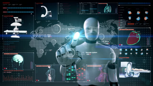 Robot touching World Medical health care service in the world. Robot, cyborg touching World Medical health care service in the world, Remote diagnosis and treatment, Telemedicine in digital display dashboard, user interface. hypothalamus stock videos & royalty-free footage