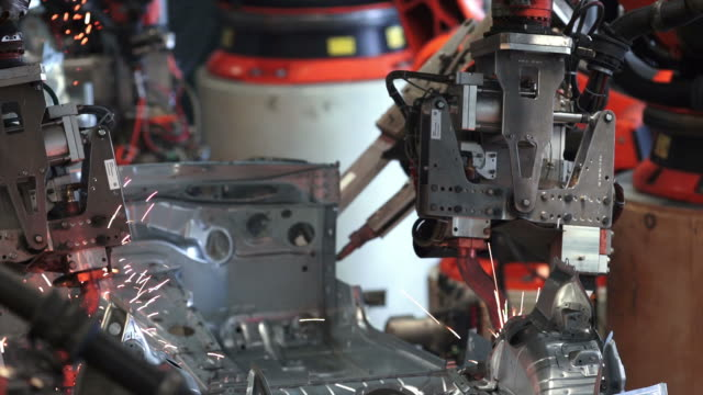 Robot Welding On Car Body Close-up video