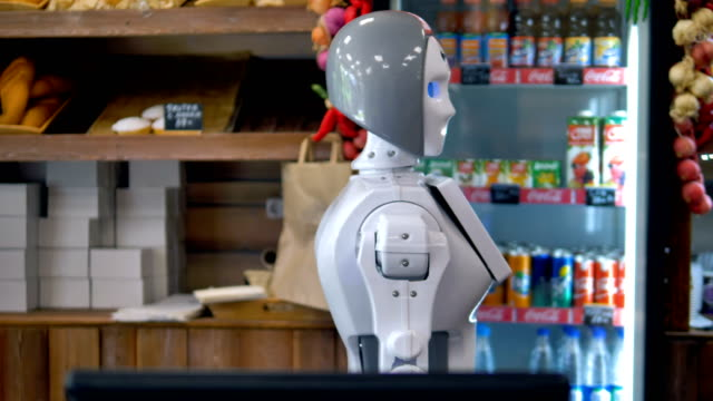 A robot works at the bakery counter. video