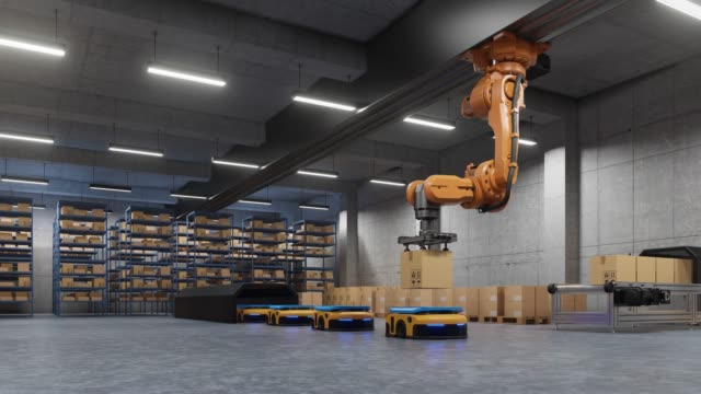 robotic arm for packing with producing and maintaining logistics systems using automated guided vehicle - maszyneria filmów i materiałów b-roll