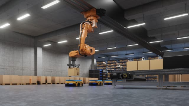 robotic arm for packing with producing and maintaining logistics systems using automated guided vehicle - metal robot in logistic factory video stock e b–roll