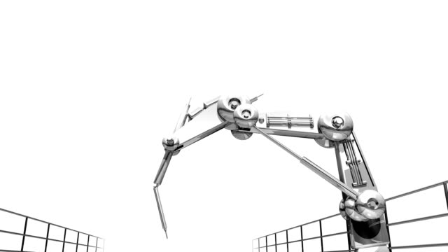 Robotic Arm Loopable Robotic arm moving. Loopable animation with alpha matte. robot arm stock videos & royalty-free footage