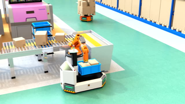 Robotic arm picking parcel from conveyor to AGV Robotic arm picking parcel from conveyor to AGV (Automatic guided vehicle). 3D rendering animation. computer aided manufacturing stock videos & royalty-free footage