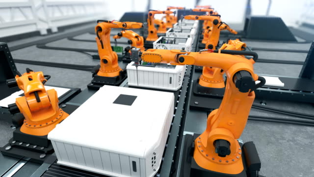 vídeos de stock e filmes b-roll de robotic arms assembling computers on conveyor belt close-up. advanced automated process. looped 3d animation. business and technology concept. - circular economy