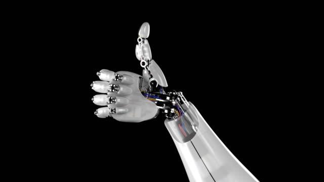 vídeos de stock e filmes b-roll de robotic hand giving thumbs up - membro