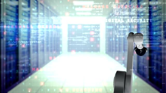Robotic hand presenting globe against server room background