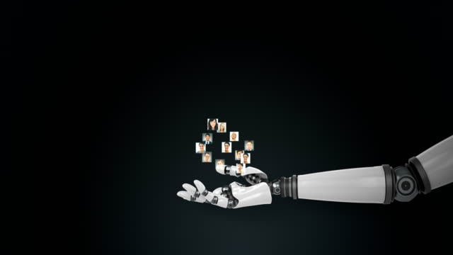 Robotic hand presenting polygon structure with profile picture against black background