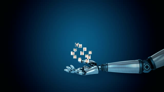 Robotic hand presenting polygon structure with profile picture against blue background