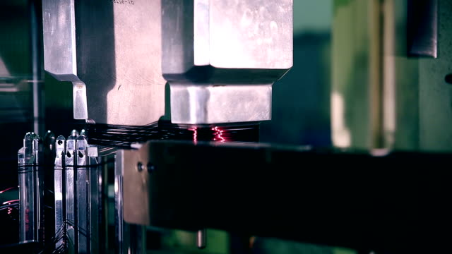 Robotic Production process. Automated Industrial Robot video