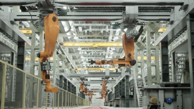 미래의 공장에서 로봇 - 지력 스톡 비디오 및 b-롤 화면
