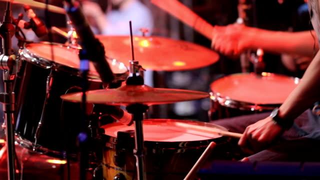 Rock band performing in a nightclub.drummer video