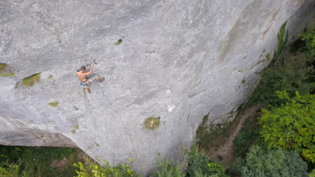 Rock Climb Up A Steep Face video
