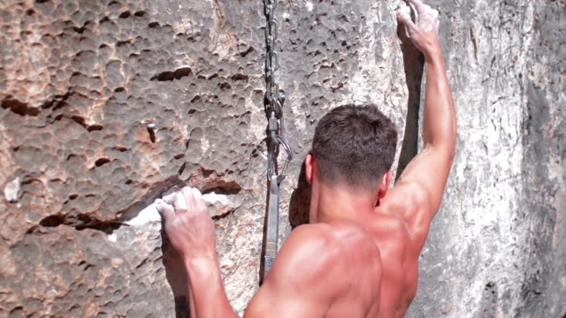 rock climber clips protection video