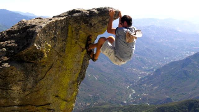 Rock climbing in mountains
