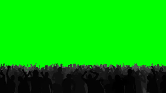 Rock Concert Crowd on Green HD 1080p- Concert crowd dancing energetically, on an easily keyed green background. silhouette people stock videos & royalty-free footage