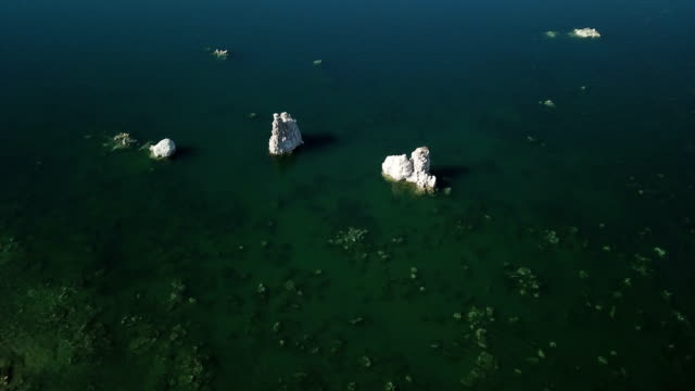 Rock Formations in Deep Emerald Green Lake video