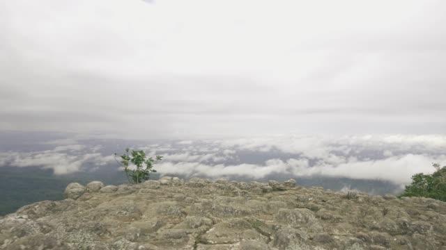 vídeos y material grabado en eventos de stock de jardín de rocas en la montaña aérea - escalada en rocas
