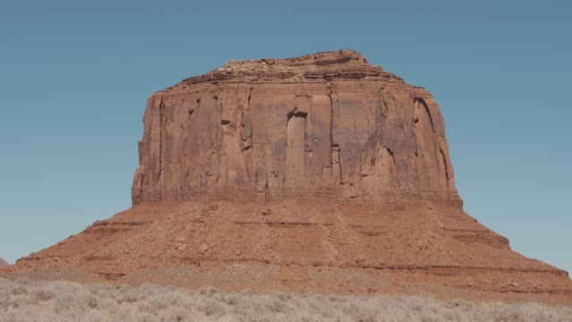 Rock Monolith Butte Of Orange Red Color In Desert Of Monument Valley Usa