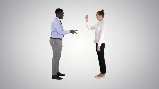 rock, paper, scissors game woman being late on gradient background - forbici video stock e b–roll