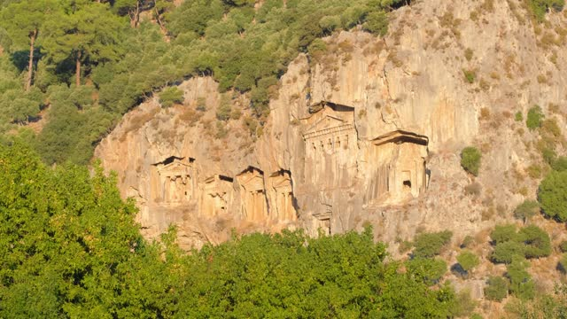Rock-cut temple tombs of the ancient city Kaunos in Dalyan, Turkey.