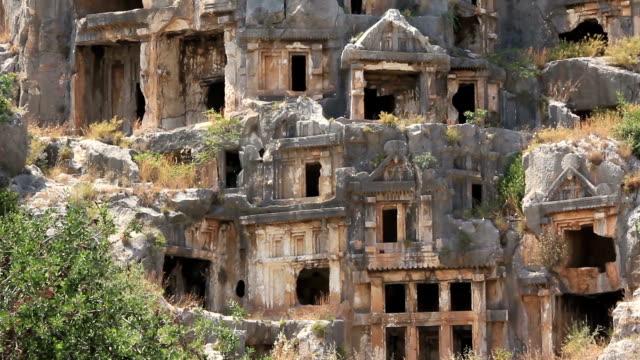 Rock-cut tombs of the ancient Lycian necropolis. Myra, Demre, Turkey video