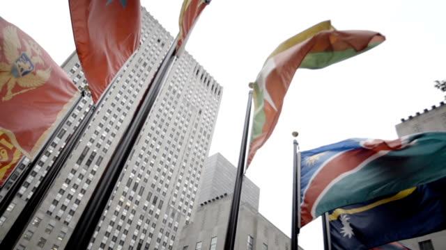 30 Rockefeller Center international flag slow motion