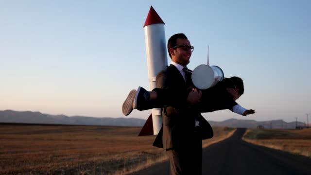 Rocket business people